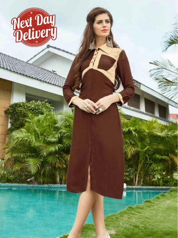 Penny Brown and Beige Kurti Dress