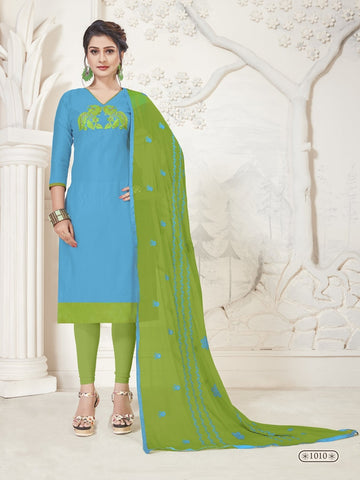 Party Wear Blue Color Modal Silk Straight Cut Suit