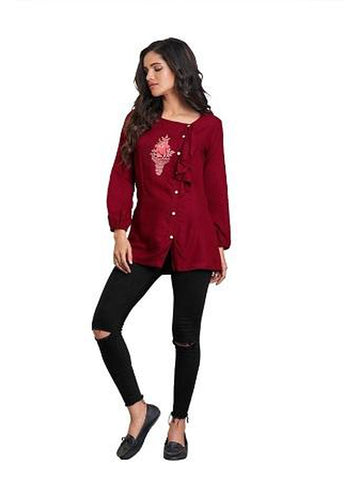 Designer Maroon Color Summer Top