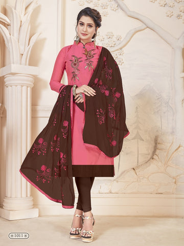 Party Wear Pink Color Modal Silk Straight Cut Suit