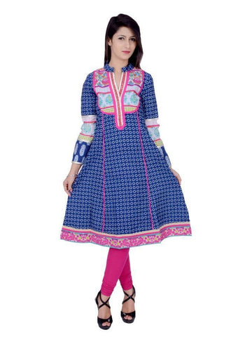 Beautiful Printed Blue Color Cotton Anarkali Kurtis