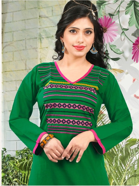 Bottle Green Cotton Kurti - PurpleTulsi.com  - 1