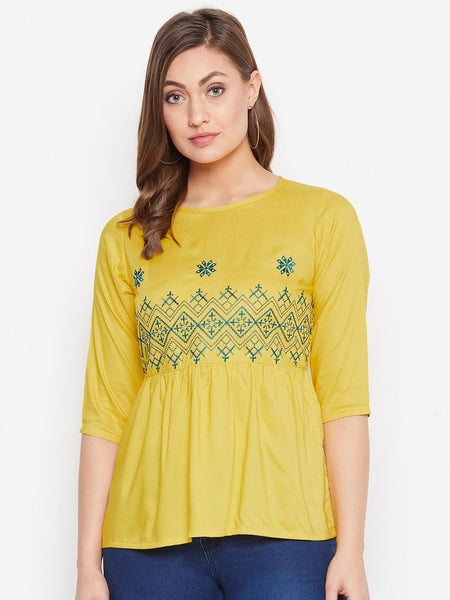 Beautiful Yellow Color embroidered Rayon Top