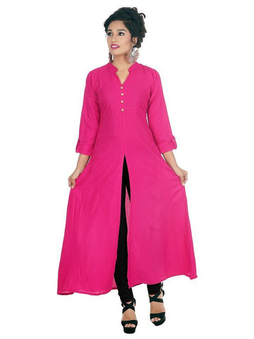 Designer Solid Rani Pink Color Rayon Plain Long Kurti