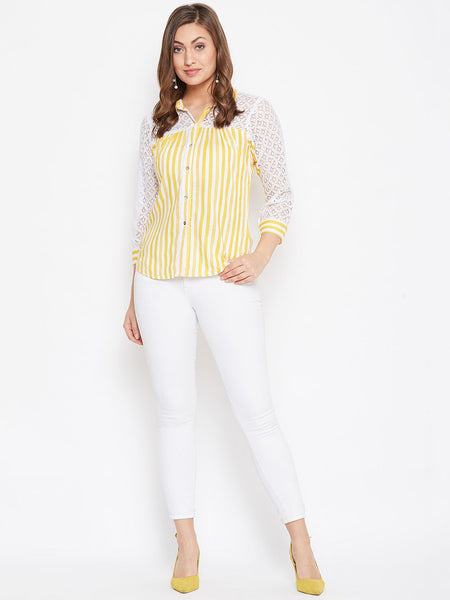 Beautiful Yellow Color Rayon Printed Shirt Style Top