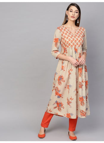 Beige and Orange Color Cotton Printed Anarkali Kurti