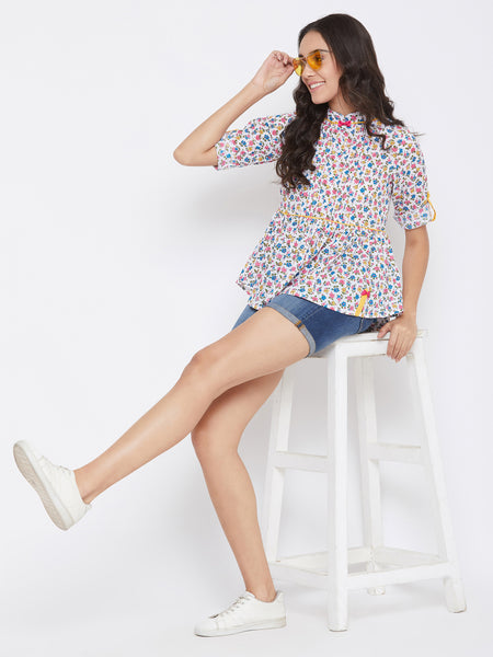 Beautiful White Color Cotton Printed Top