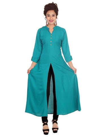Designer Solid Green Color Rayon Plain Long Kurti