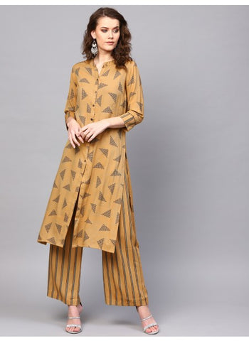 Beige Color Rayon Straight cut Kurti with Palazzo
