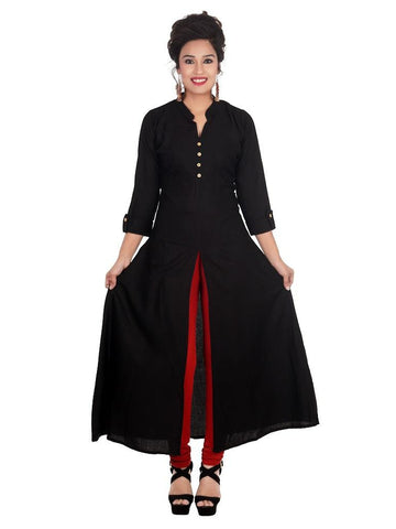 Designer Solid Black Color Rayon Plain Long Kurti
