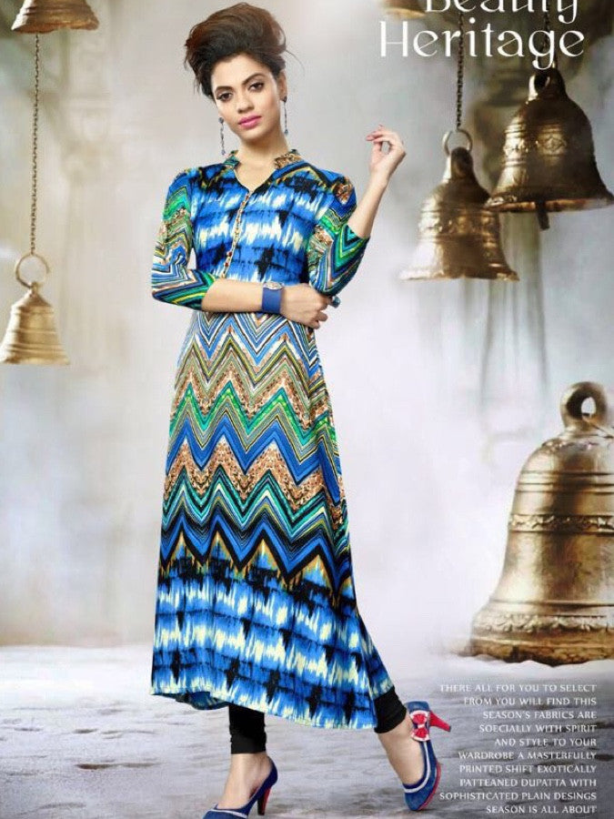 Blue and Multicolour Rayon Kurti
