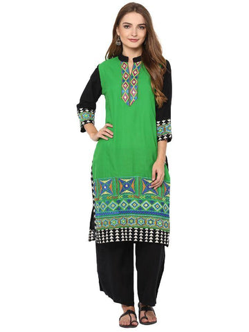 Trendy and stylish Knee- length printed kurti in Green
