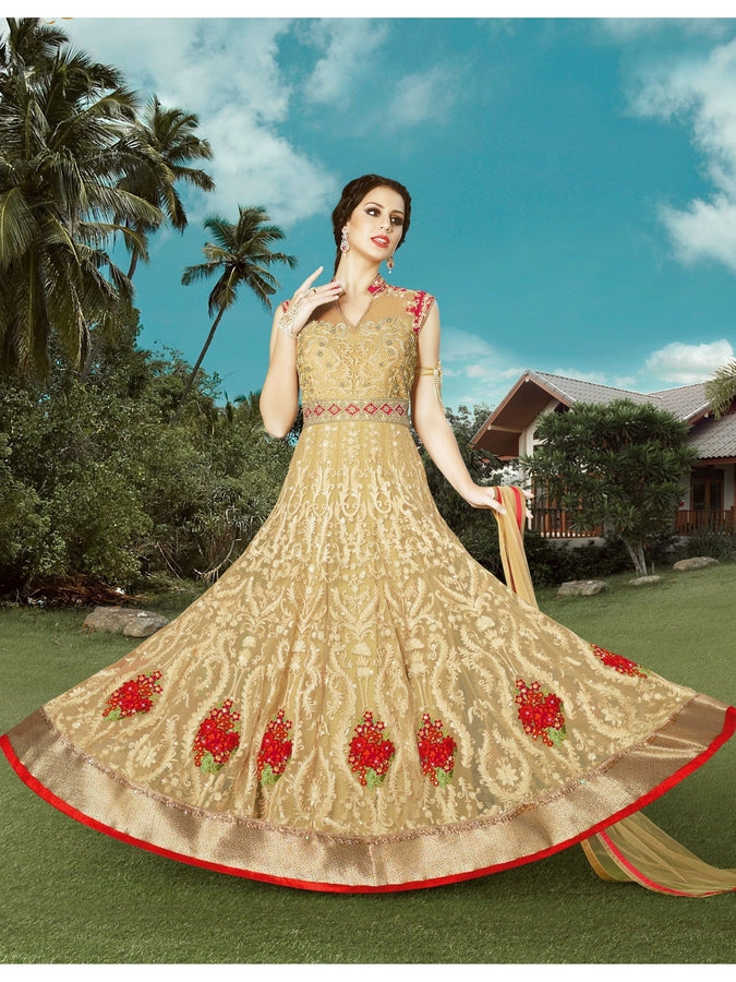 Traditional Beige Net Embroidered Designer Suit