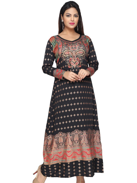 Black and Multicolour Kaftan Kurti