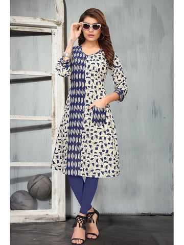 Designer Multi Color Printed Rayon Straight Cut Kurti