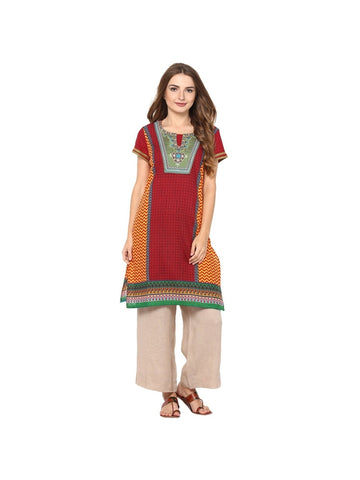 Red, Yellow Color cotton Knee-length Embroidered Kurti