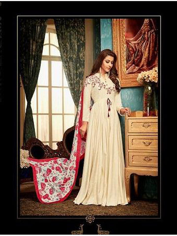 Designer Cream Color Embroidered Anarkali Suit