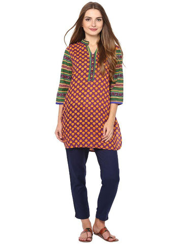 Trendy and stylish Knee-length printed kurti in Purple and Green