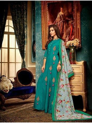 Designer Sea Green Color Embroidered Anarkali Suit