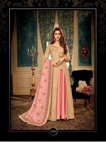 Designer Beige Color Embroidered Anarkali Suit