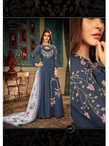 Designer Blue Color Embroidered Anarkali Suit