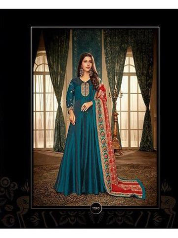 Designer Teal Blue Color Embroidered Anarkali Suit