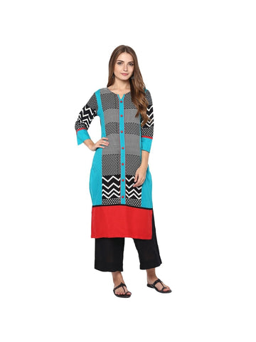 Turquoise, Black Color cotton Knee-length Printed Kurti