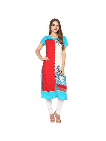 Turquoise, red Color viscose Knee-length Printed Kurti