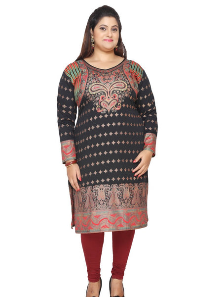 Black and Gold Plus Size Kurti