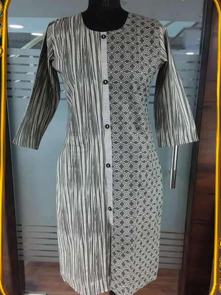 Cloud Grey Designer Kurti - PurpleTulsi.com