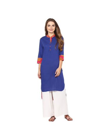 Blue Color viscose Knee-length Solid Kurti