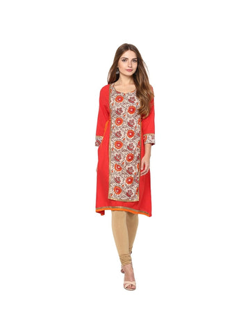 red Color cotton Knee-length Printed Kurti