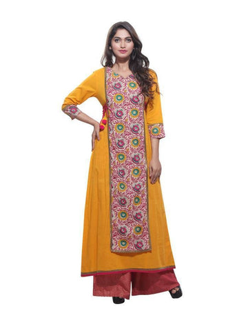 Beautiful  Yellow Color Cotton Printed Kurti