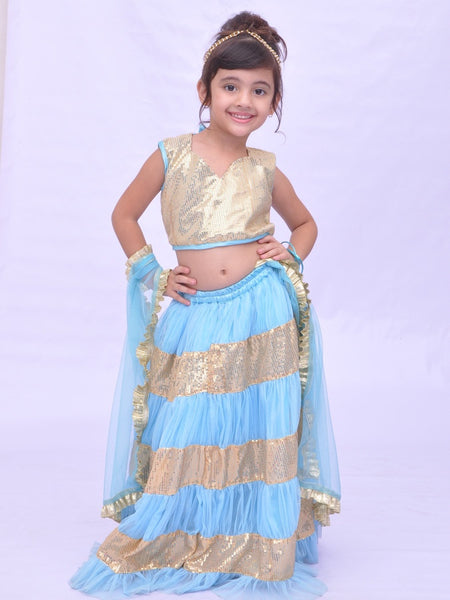 Turquoise and Gold Girls Dress - PurpleTulsi.com  - 1