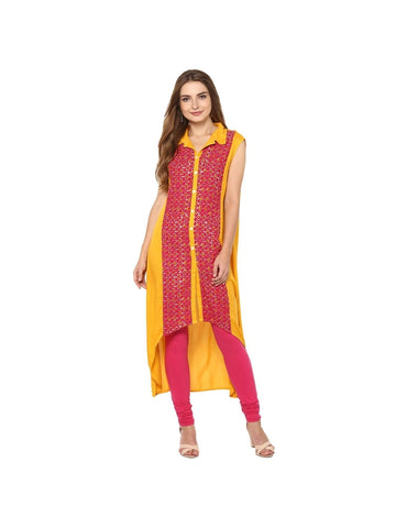 Yellow, Red Color viscose Knee-length Printed Kurti
