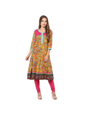 multicolor Color cotton Knee-length Printed Kurti