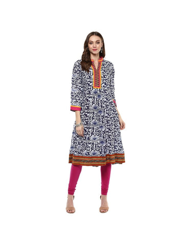 Blue Color cotton Full-length Embroidered Kurti