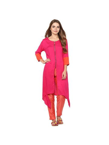 Pink Color viscose Knee-length Solid Kurti