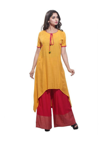 Beautiful  Yellow Color Rayon Printed Kurti