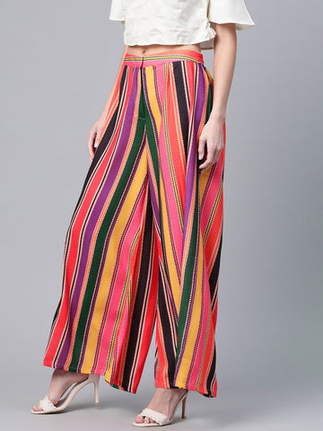 Beautiful Poly Georgette Printed Multicolor Palazzo Pant