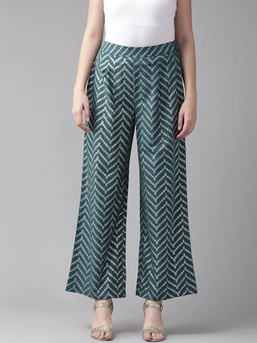 Beautiful Cotton Printed Teal Color Palazzo Pant