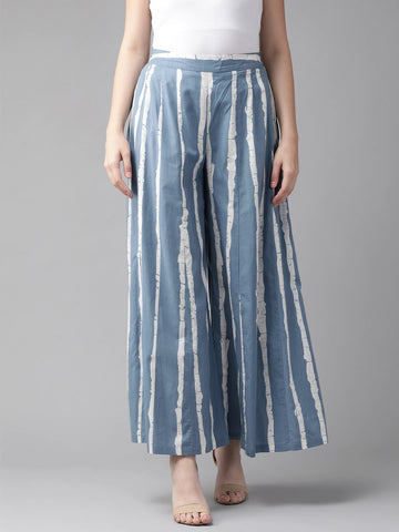 Beautiful Cotton Printed Blue Palazzo Pant