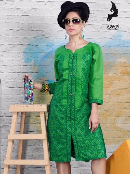 Forest Green Cotton Kurti - PurpleTulsi.com  - 1