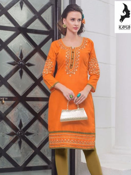 Fire Yellow Rayon Kurti - PurpleTulsi.com  - 1