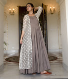 Grey Maslin Digital Printed Gown With Jacket
