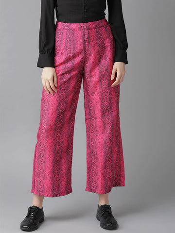Beautiful Rayon Printed Pink and Black Palazzo Pant