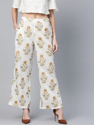 Beautiful Cotton Printed Off White Palazzo Pant