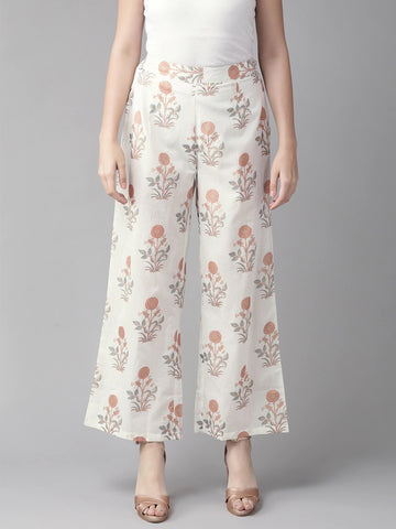 Beautiful Cotton Printed Rust and White Color Palazzo Pant