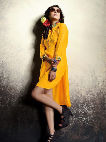 Bright Yellow Rayon Kurti - PurpleTulsi.com