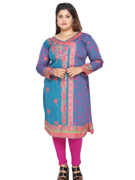 Blue and Pink Plus Size Kurti